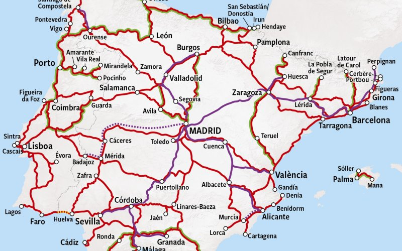 Trains in Spain - Rail Map