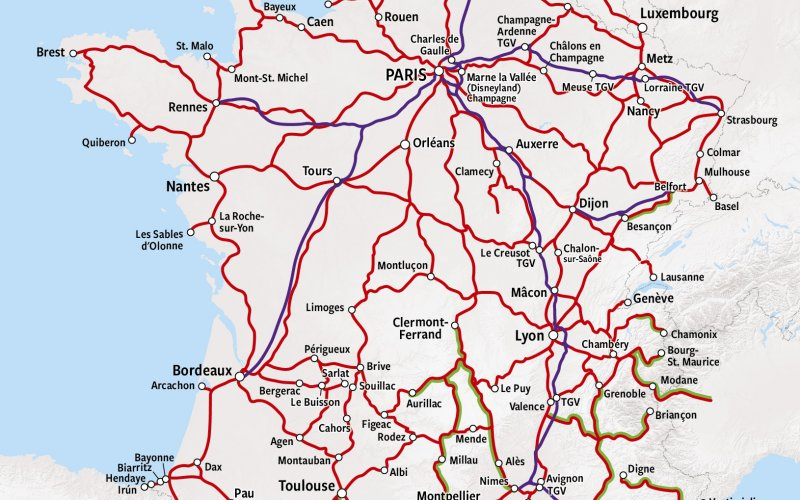Trains in France - Rail Map