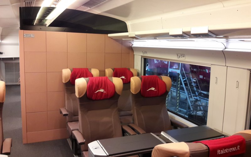 Trains Roma to Milano - Italo - First class interior