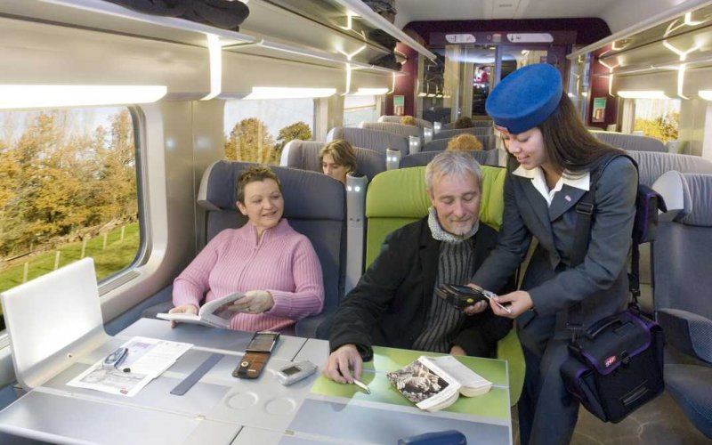 Trains Hendaye to Paris - SNCF / France - TGV interior first class