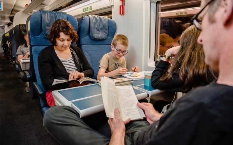 Trains London to Paris - Eurostar interior second class family / with kids