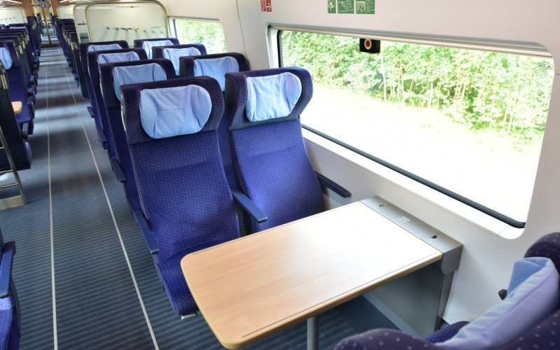 Trains Baden-Baden to Heidelberg Hbf (Central station) - Deutsche Bahn / Germany - ICE International interior second class