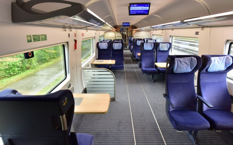 Trains Amsterdam C to Berlin Hbf - Deutsche Bahn - ICE International interior second class