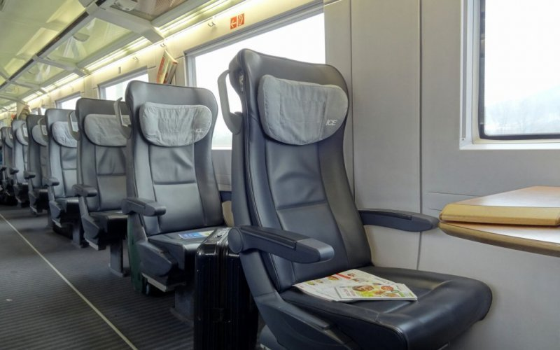 Trains Baden-Baden to Heidelberg Hbf (Central station) - Deutsche Bahn / Germany - ICE International interior first class