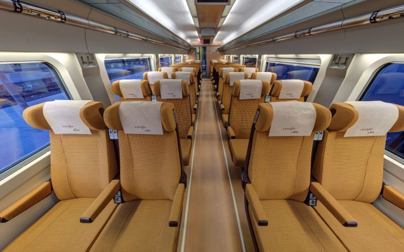 Trains Barcelona Sants (Main Station) to Girona - Renfe / Spain - Ave interior second class / Turista
