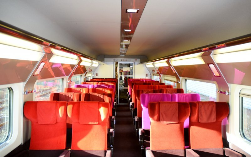 Trains Paris to Brussel-Midi/Zuid - Thalys second class interior