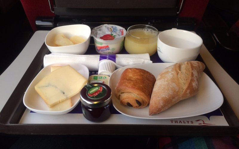 Trains Amsterdam C to Menton - Thalys breakfast