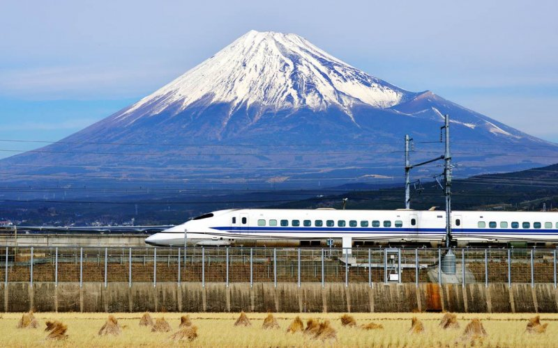 Shinkansen train at Mt. Fuji - All train tickets and rail passes