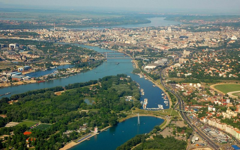 Trains to & from Belgrade | Aerial view over Belgrade