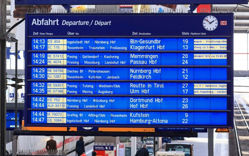 European train planner | Departure board