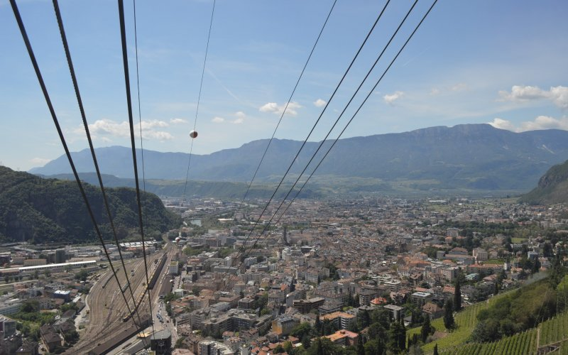 Trains to & from Bolzano | View from the cable car while on its way to Oberbozen