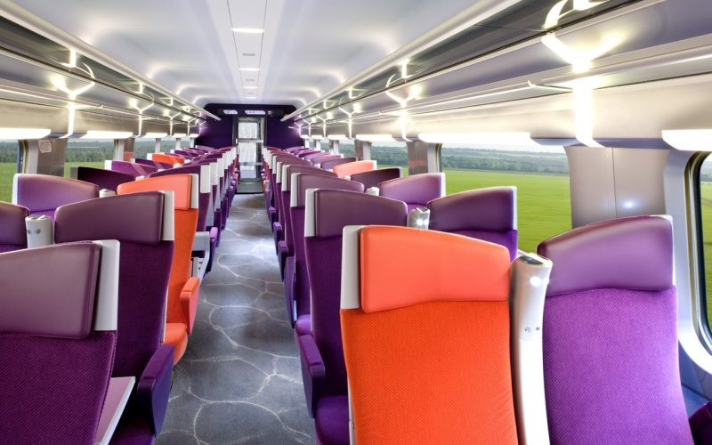 Trains to & from St Malo | TGV second class interior