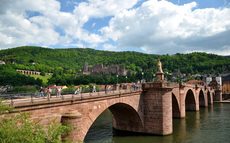Trains to & from Heidelberg | Bridge over river Neckar