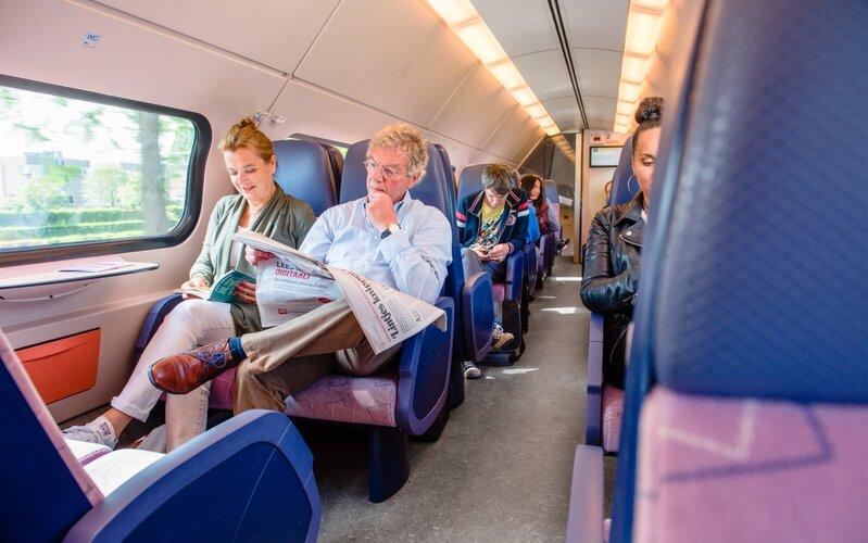 Train Reservations in The Netherlands | All Reservations & Passes | 2nd class interior Nederlandse Spoorwegen double decker