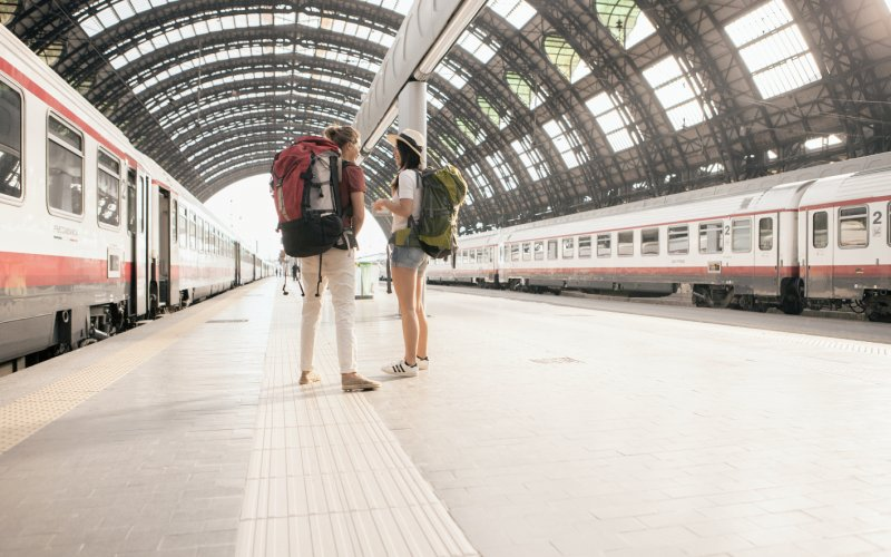 Book Your Eurail/Interrail Adventure at HappyRail | Trip Itineraries for Eurail | Backpackers ready for departure from Milan Central Railway Station