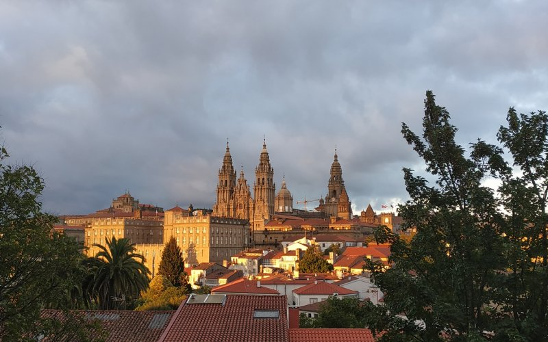 Trains to & from Santiago de Compostela | Sunset over Santiago de Compostela