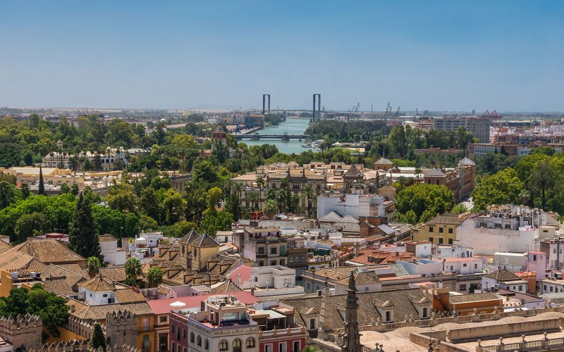 Trains to & from Seville | Aerial shot of Seville