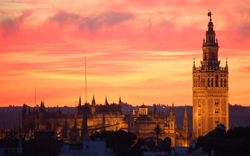 Trains to & from Seville | Sunset over Seville