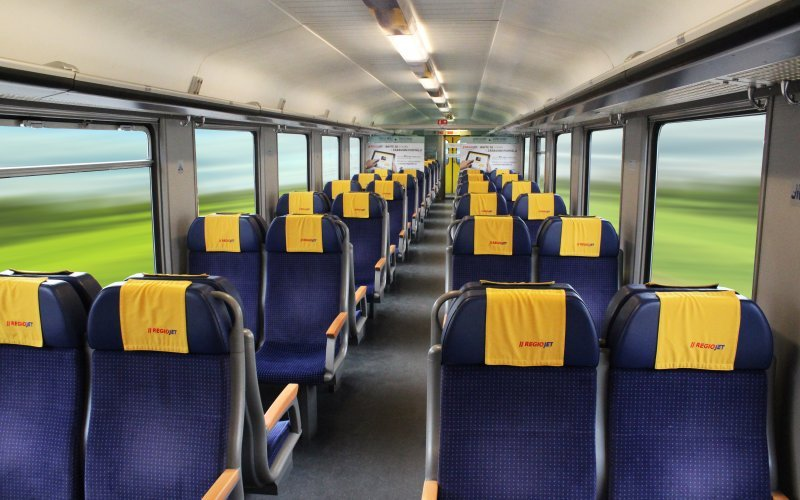 Trains Prague to Vienna - Regiojet Second Class Interior
