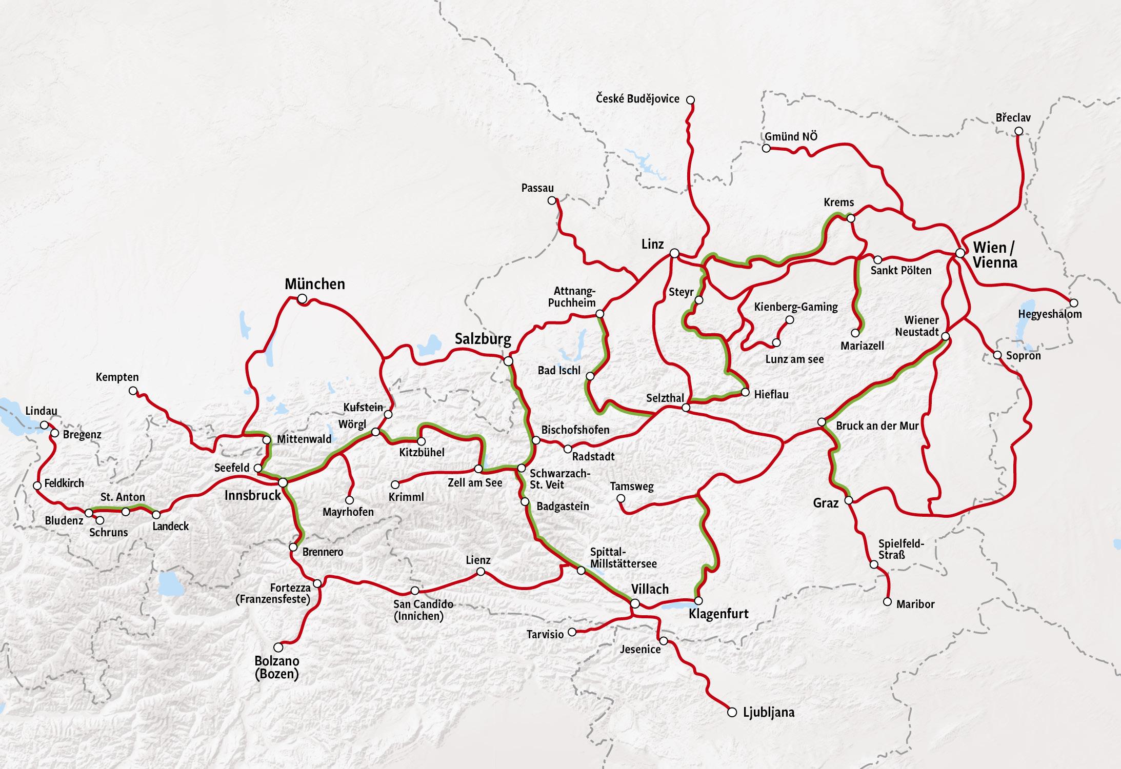 Rail Map - Austria
