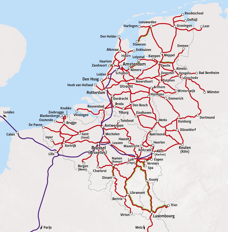Rail Map - The Netherlands, Luxembourg & Belgium