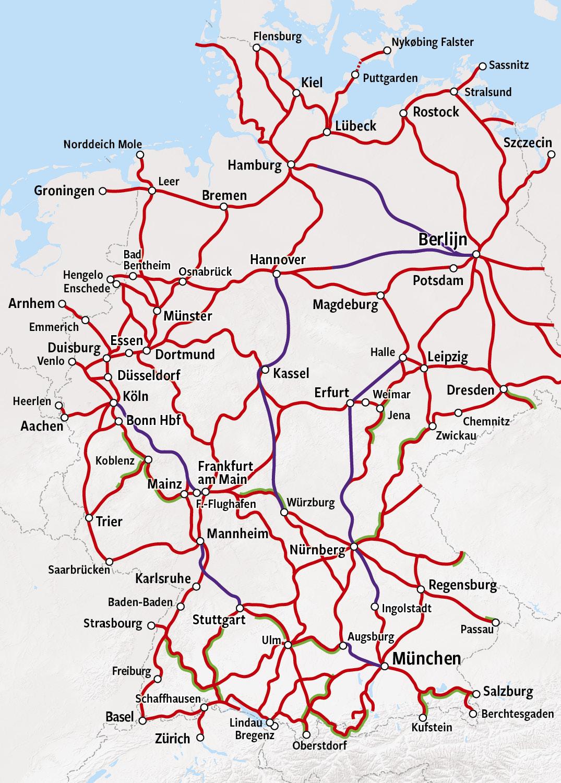 Spoorkaart Duitsland