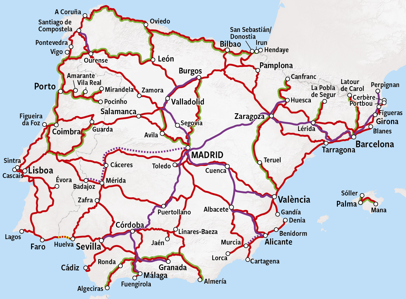 Rail Map - Spain & Portugal
