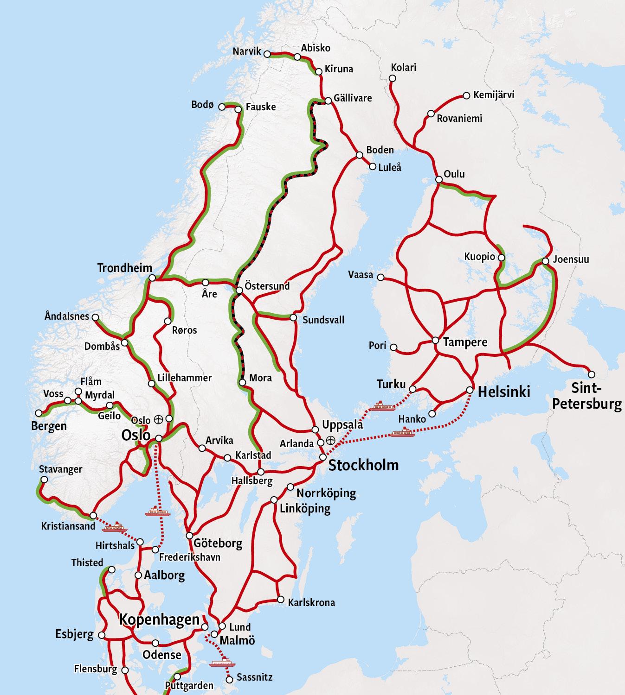 Rail Map - Scandinavia
